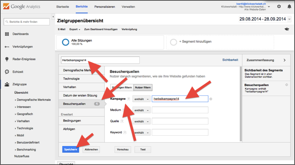 Google Analytics Segement zwei