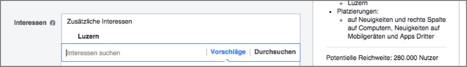 Facebook-Werbung Interesse Luzern