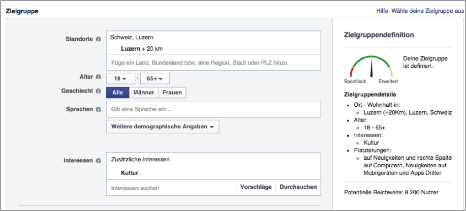 Facebook-Werbung: Lokal