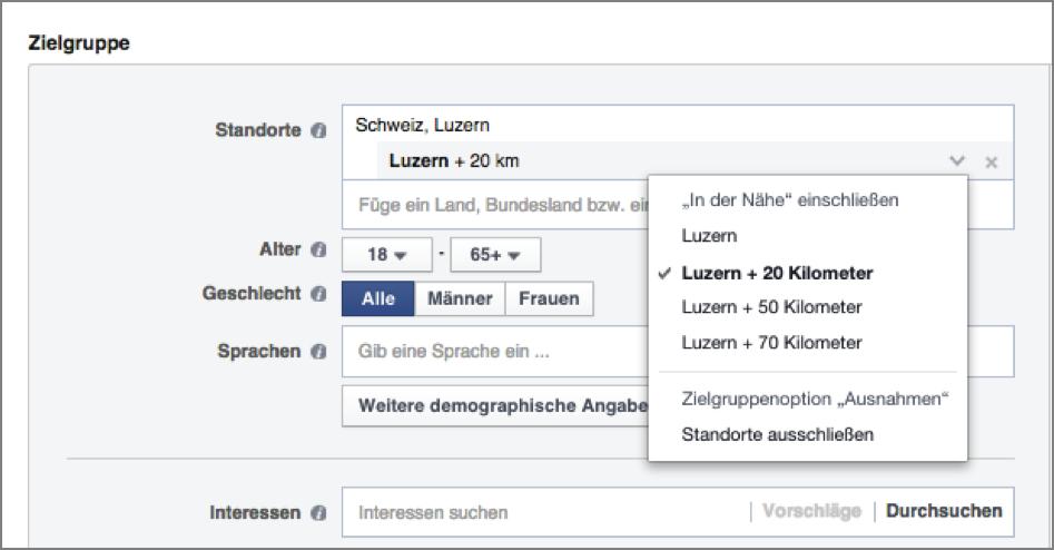 Facebook-Werbung nach Städte-Targeting